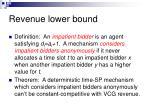 revenue lower bound