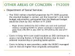 other areas of concern fy2009