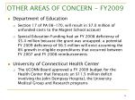other areas of concern fy200916