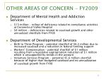 other areas of concern fy200917