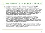 other areas of concern fy200918