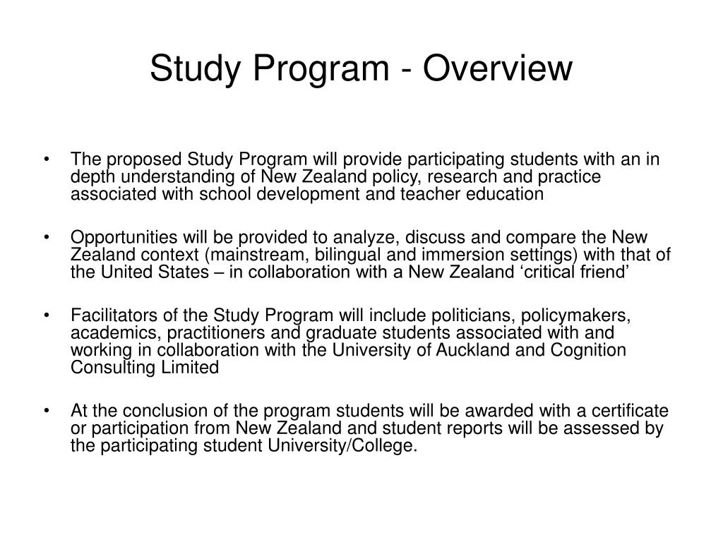 Study Program - Overview