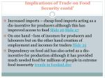 implications of trade on food security contd