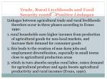 trade rural livelihoods and food security contd positive linkages