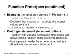 function prototypes continued