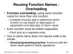 reusing function names overloading