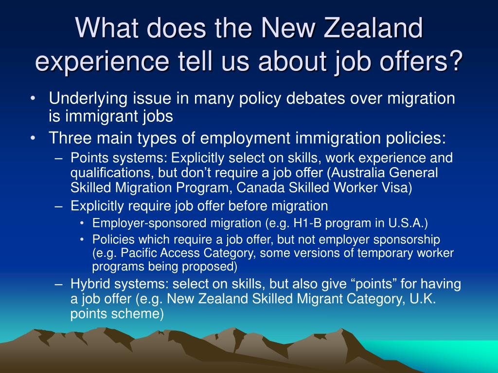 What does the New Zealand experience tell us about job offers?