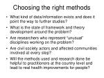 choosing the right methods
