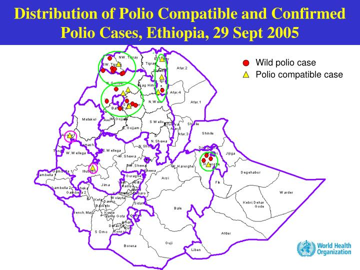 Distribution of Polio Compatible and Confirmed Polio Cases, Ethiopia, 29 Sept 2005
