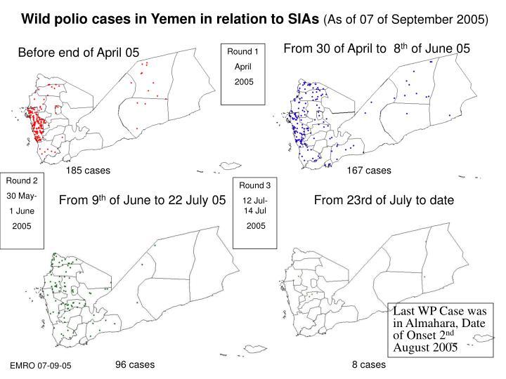 Wild polio cases in Yemen in relation to SIAs
