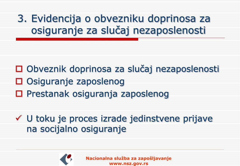 Evidencija o obvezniku doprinosa za osiguranje za slučaj nezaposlenosti