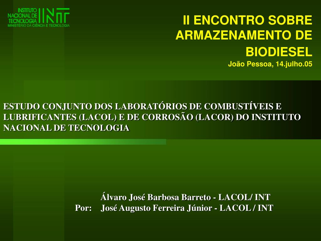ii encontro sobre armazenamento de biodiesel jo o pessoa 14 julho 05 l.