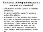 relevance of the grade descriptors to the video interview