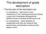 the development of grade descriptors