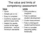 the value and limits of competency assessment