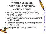 written language activities in mather goldstein text