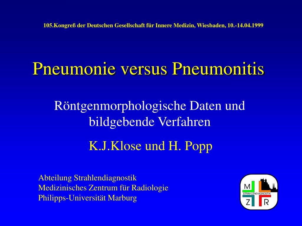 pneumonie versus pneumonitis l.
