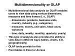 multidimensionality or olap