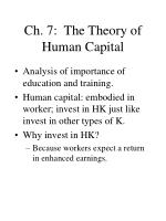 ch 7 the theory of human capital