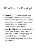 who pays for training