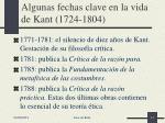 algunas fechas clave en la vida de kant 1724 1804