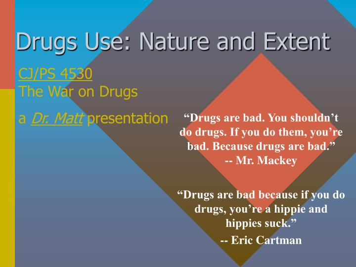 Drugs use nature and extent
