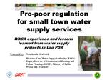 pro poor regulation for small town water supply services