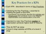 key practices for a kpa