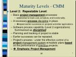 maturity levels cmm
