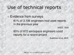 use of technical reports