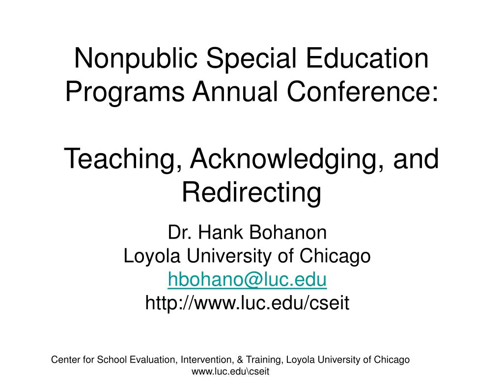 nonpublic special education programs annual conference teaching acknowledging and redirecting l.