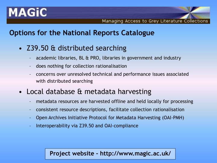 Options for the National Reports Catalogue