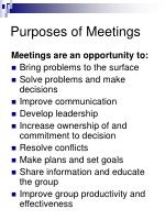 purposes of meetings