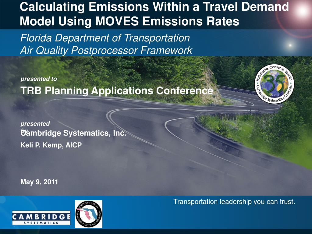 calculating emissions within a travel demand model using moves emissions rates l.