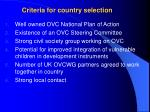 criteria for country selection