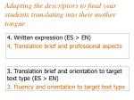 adapting the descriptors to final year students translating into their mother tongue