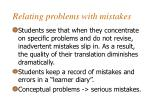 relating problems with mistakes