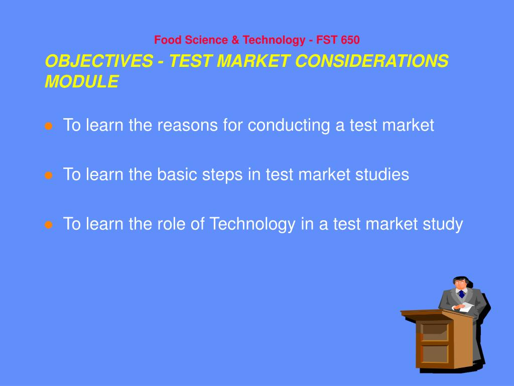 objectives test market considerations module l.