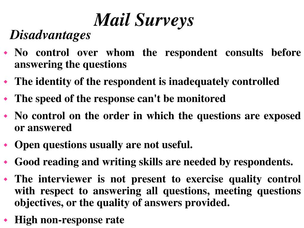 No control over whom the respondent consults before answering the questions