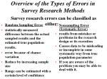 overview of the types of errors in survey research methods