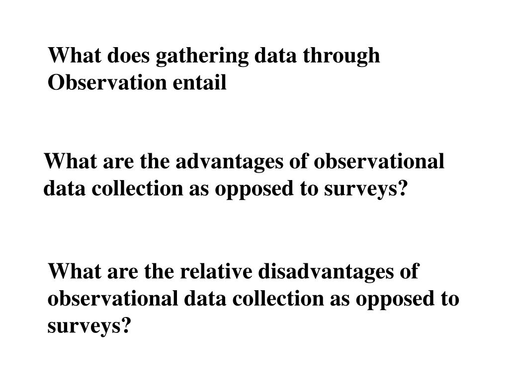 What does gathering data through Observation entail