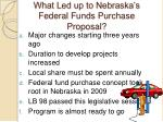 what led up to nebraska s federal funds purchase proposal