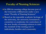 faculty of nursing sciences
