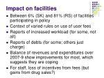 impact on facilities