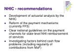 nhic recommendations