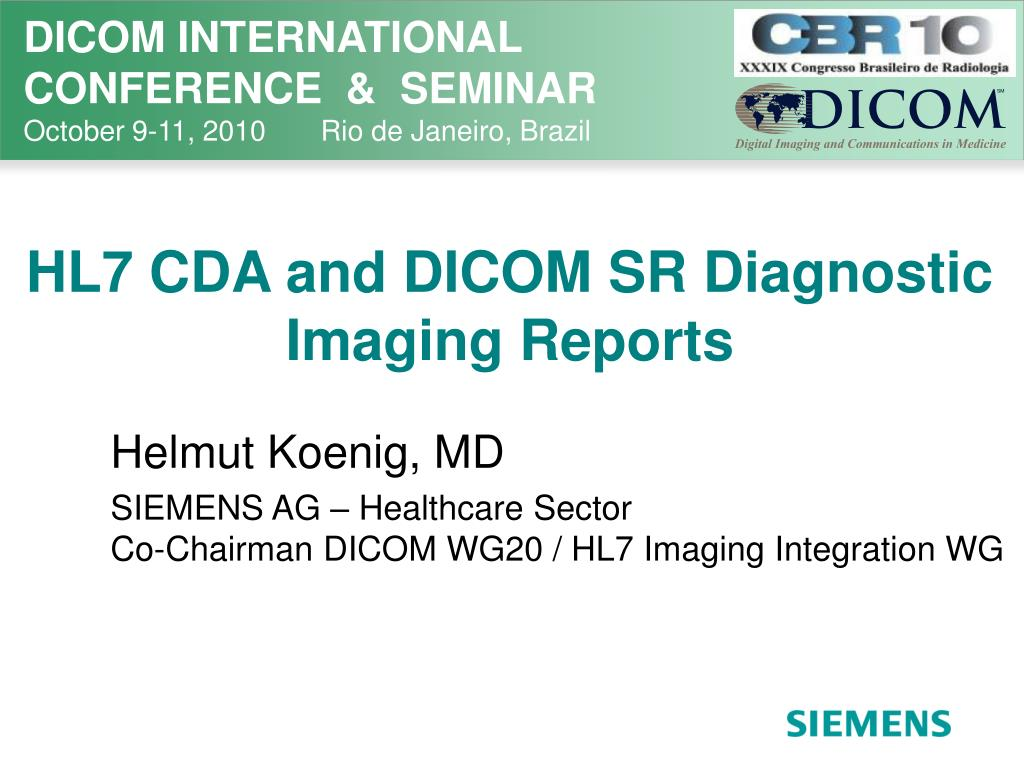 hl7 cda and dicom sr diagnostic imaging reports l.