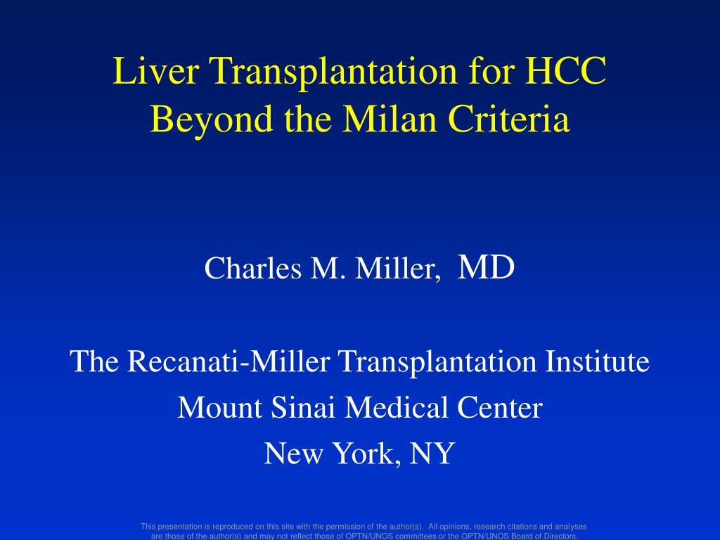 liver transplantation for hcc beyond the milan criteria l.