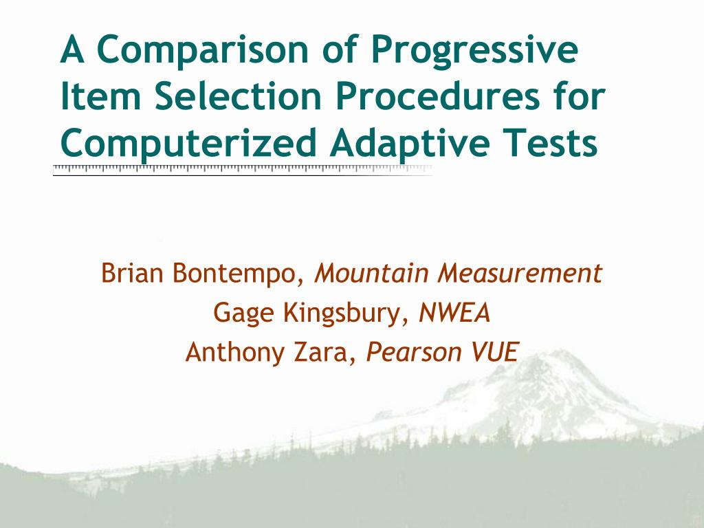 a comparison of progressive item selection procedures for computerized adaptive tests l.