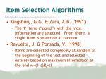 item selection algorithms