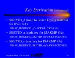 key derivation continued